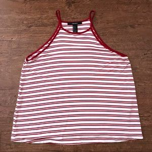 Forever 21 High Neck Tank Red & White Striped Sm